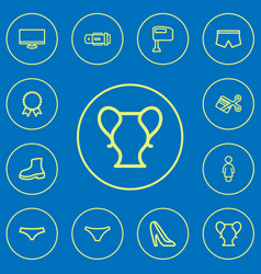 set of 12 editable business outline icons vector image