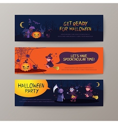 Set of happy Halloween banners background vector image