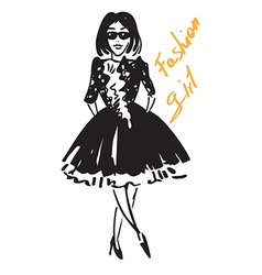 fashionable girl in black vector image