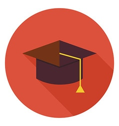 Flat Education Graduate Hat Circle Icon with Long vector image vector image