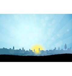 Landscape with Tree Silhouettes vector image