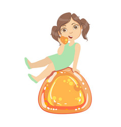 little girl is sitting on a huge orange jelly andy vector image