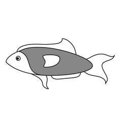Sketch color silhouette fish aquatic animal vector