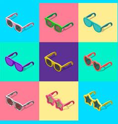 sunglasses set isometric vector image
