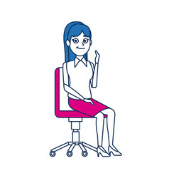Business woman sitting office chair people vector