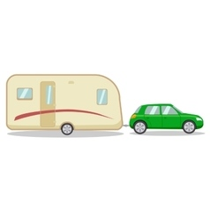 Car with the house on wheels trailer vector image vector image