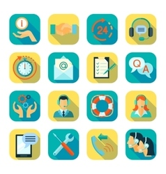 Flat Style Color Icons Set Of Technical Support vector image vector image