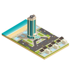 luxury hotel building isometric composition vector image