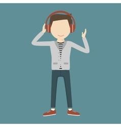Man listening music through headphones vector