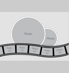 round photoframes with film strip for family album vector image vector image