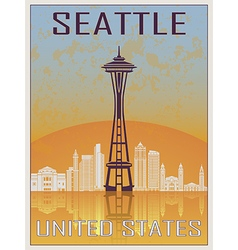 Seattle Vintage Poster vector image vector image