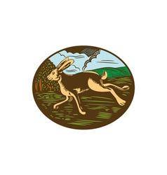 Wild Hare Rabbit Running Oval Woodcut vector image vector image