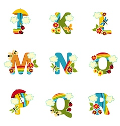 alphabet rainbow from J to R vector image