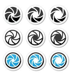 Camera shutter aperture icons set vector image