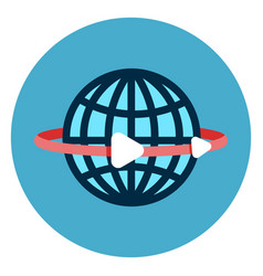 earth globe with lines icon web button on round vector image