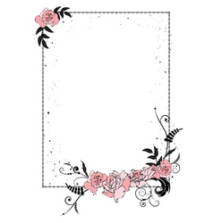 floral frame with chain vector image vector image
