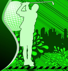 golf urban grunge poster with player silhouette vector image vector image