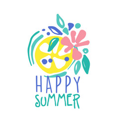 happy summer logo template colorful hand drawn vector image vector image