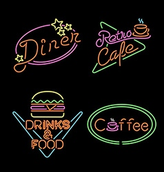 Retro neon light sign set food coffee drink vector image vector image