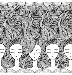 Seamless pattern portraits of girls in the graphic vector image