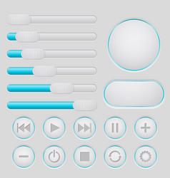 user interface slider buttons set light gray vector image