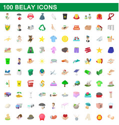 100 belay icons set cartoon style vector image
