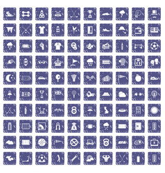 100 golf icons set grunge sapphire vector