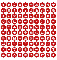 100 sewing icons hexagon red vector