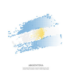argentina flag with halftone effect grunge texture vector image