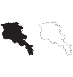Armenia country map black silhouette and outline vector