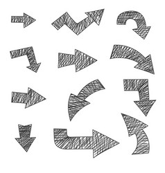 arrows hand drawn with pencil grunge style vector image