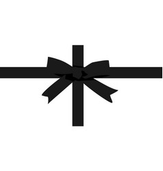 black bow with ribbon for greeting cards isolated vector image