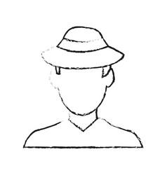Blurred silhouette image cartoon faceless half vector