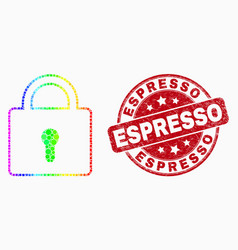 bright dotted lock icon and scratched vector image