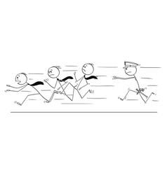 cartoon group businessmen running from vector image