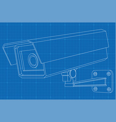 Cctv camera outline on vector