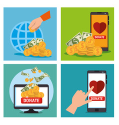 Charity donation set icons vector