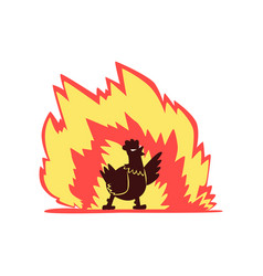 Chicken on fire hot spicy poultry creative logo vector