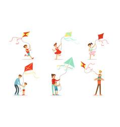 Children fly a kite set vector