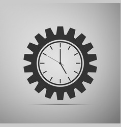 clock gear icon isolated a grey background vector image