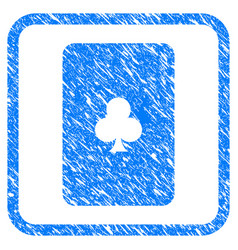 Clubs playing card framed grunge icon vector