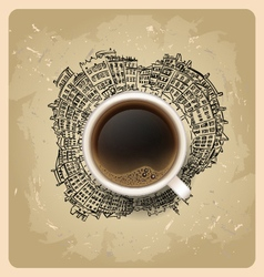 Coffee on background Planet earth travel the world vector