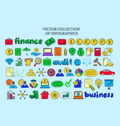 Colored infographic financial elements collection vector