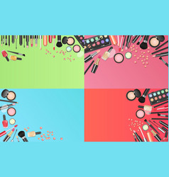 cosmetics fashion background with make up artist vector image