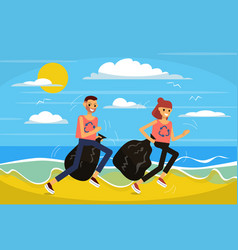 couple is jogging on beach picking up litter vector image