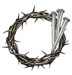 Crown thorns nails easter religious symbol of vector