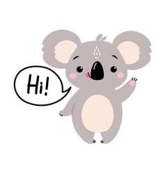 Cute koala waving its paw and saying hi adorable vector