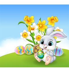 Cute little Easter Bunny painting an egg vector image