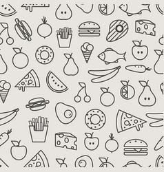 Different food silhouette icons seamless pattern vector