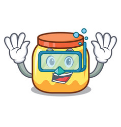 Diving cream jar character cartoon vector